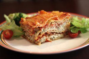 Lasagna_with_salad,_May_2011
