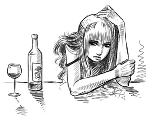ashamed woman drinking wine
