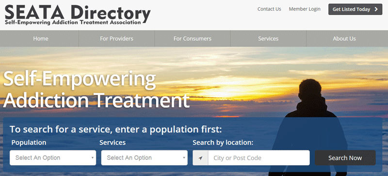 Screenshot of SEATA Directory website for Harm Reduction Providers