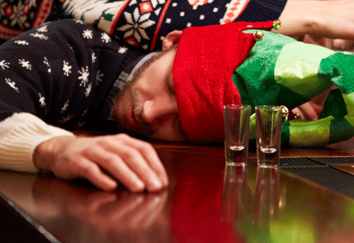 drunk man passed out during the holidays
