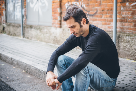 man feeling shame about drug use