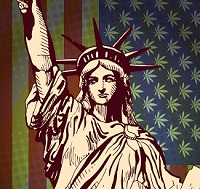 statue of liberty and marijuana tapestry to signify federal crackdown on marijuana