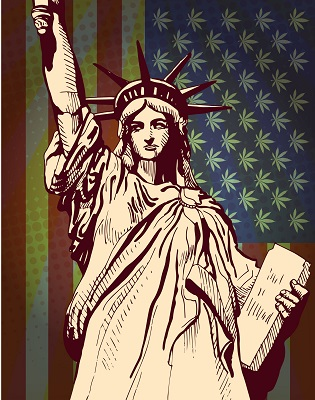 image of statue of liberty with marijuana print tapestry