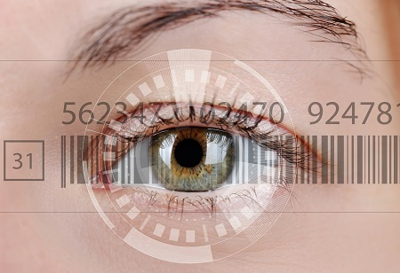 Human eye with integrated barcode to symbolize the relationship between Internet addiction and attention