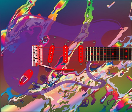 image of a psychedelic guitar to symbolize tom petty and his use of substances