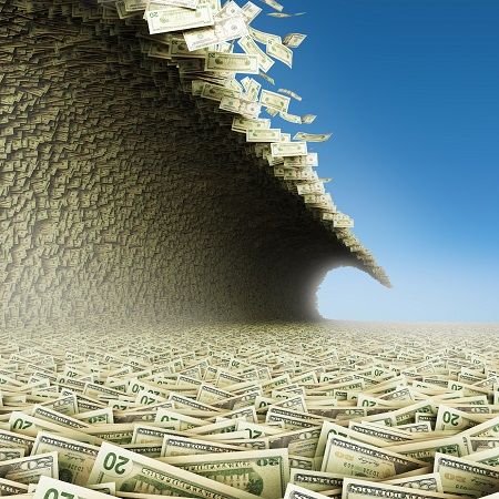 image of money tidal wave to symbolize opiate settlements payout