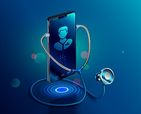 image of smart phone and stethoscope to symbolize online drug and alcohol assessments