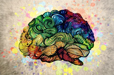 Image of a psychedelic brain to symbolize addiction as a learning disorder
