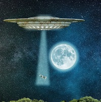 image of spaceship abducting a cow to symbolize the idea that drugs hijack the brain
